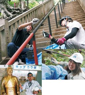 塗装の様子。【左下】記念に北島三郎像と写真に納まる佐藤支店長