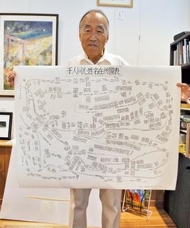 復元した番組合之縮図を持つ岩崎さん