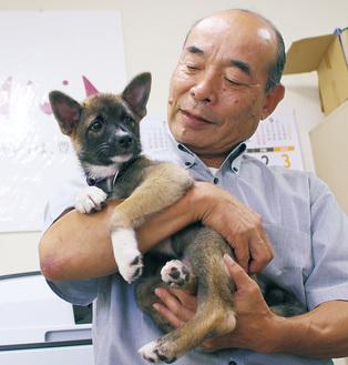 保護犬を抱き上げる石井さん