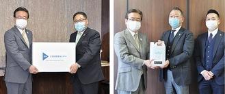 【左】マスク3,000枚を手渡す水落社長=右/【右】消毒液5リットルを手渡す平塚社長=中央