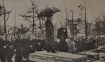 昭和天皇が1946年、当時の府立第四高等女学校(明神町)を訪れた際の様子=木村道子さん提供