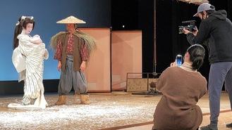 劇団施設で行われた「雪の曲」収録の様子=提供写真