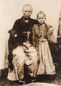 川村惠十郎と嫡男勇=八王子市郷土資料館提供