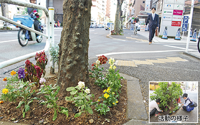 駅前彩る 花植え活動