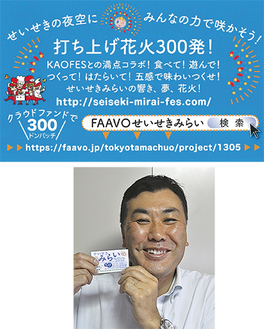 (上)現在協力を呼び掛ける名刺を配布している(右)名刺を手にする福井実行委員長