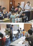 (上)子どもと一緒に阿部市長もアテレコに挑戦(下)「ラスカル」の作画体験にも多くの子どもが参加した