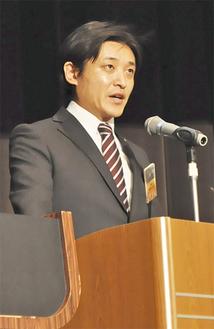 所信表明を行う松田理事長