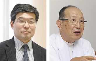 当日フォーラムで、取り組み等を報告する天本氏(右)と田村氏