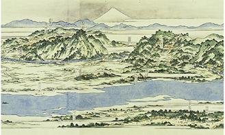 江戸時代後期に相沢伴主が描いた『調布玉川惣画図』も展示される=多摩市立図書館所蔵