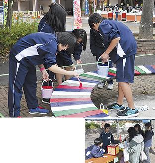 ▲ベンチを塗装する生徒たち▶スタンプラリーの抽選会に地域の人たちが参加