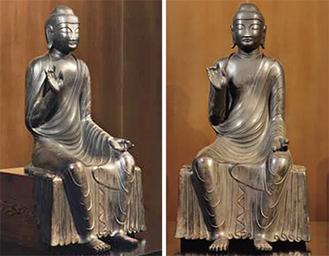 国宝指定された銅造釈迦如来像(白鳳仏)