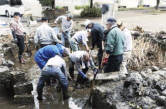 蒲や水底の泥を除去