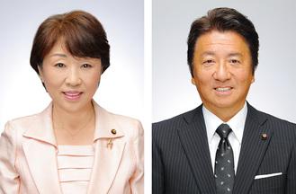 新議長の藤原氏(右)、副議長の池田氏