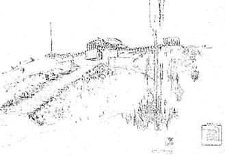 多摩聖蹟記念館構想図・昭和3年(1928)9月=(公財)東京都公園協会所蔵