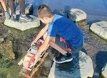 水力で発電する東寺方小の児童