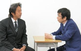 青山学院大生(理工)の松村有花さんのお父様・昇さんと対談する小村洋代表