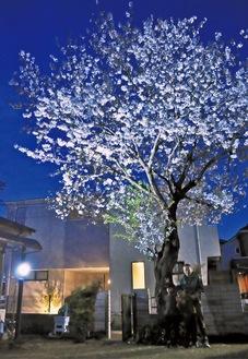 ライトアップされた桜の前に立つ川久保さんと隣に住む子どもたち