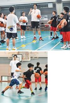 渡邉氏の指導を受けながら練習に取り組む子どもたち
