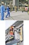 (右)はしご車での救助訓練(上)自衛消防隊がゴミ集積所で初期消火