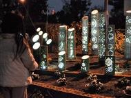 花壇に「竹灯り」地域で交流