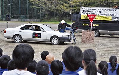 事故再現で交通安全訴え