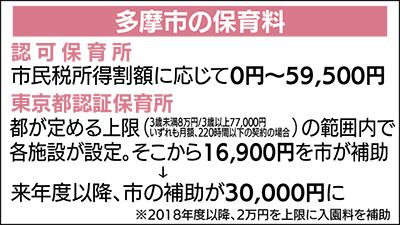 保育料補助 月額3万円に