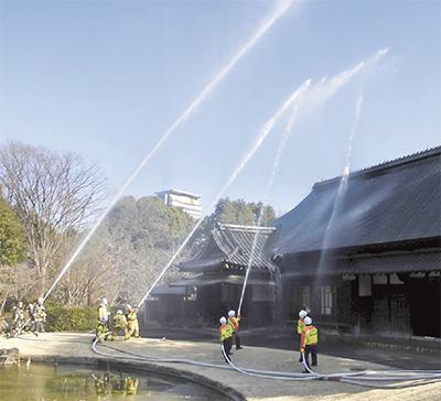 旧富澤家で消防演習