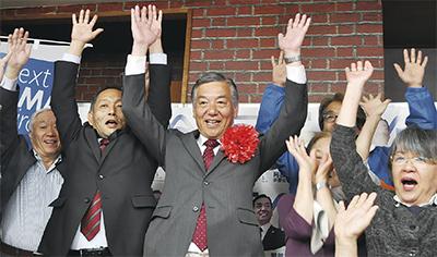 阿部氏の3選決まる