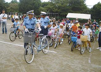 中央林間小が行っている自転車の安全な乗り方教室