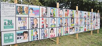 市内各地には43人分の選挙ポスターが掲示されたが、投票率は前回より下がった。