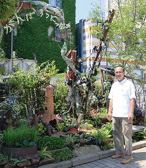 笹が飾られる圓修造園のガーデニング区画