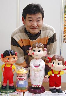 「不二家のペコちゃんなど、昔の人形やフィギュアも買取いたします」と佐野店長