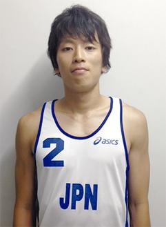 日本代表のユニフォームを身に着けた石橋龍選手