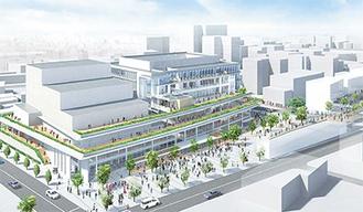 第4地区複合施設のイメージ図-右上方面が大和駅、左の道路が藤沢街道、施設手前は東側プロムナード