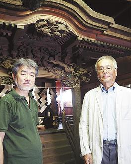 講演会を行う若林さん(左)と上田代表(右)=諏訪神社