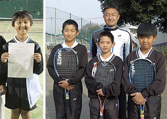 (右写真)前列右から青木君、佐藤君、内藤君、後列が三木監督(左写真)三木君