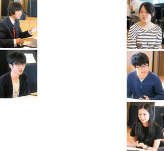 (左上から)横森君、吉田さん(右上から)戸川さん、高橋君、金城さん、