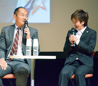 チームと地域の関係性などについて語り合う秋田さんと小野寺さん