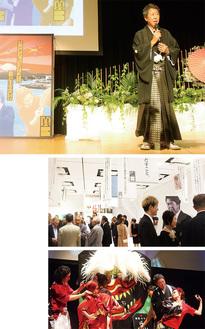 (上)挨拶をする本田代表、(中)写真や名言で60周年の歴史を振り返ったギャラリー、(下)親子でモデルをヘアメイク。最後はアッと驚く仕上がりに