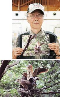 写真を持つ、撮影者の幸道さん(上)展示作品の一例(下)