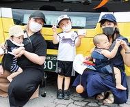 子ども達がバス車庫見学