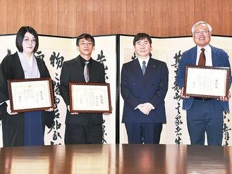 左から白鳥さん、二見さん、大木市長、演劇やまと塾の戸ヶ崎さん(※もとやまさんは欠席)