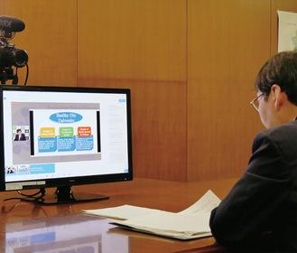 オンラインで健康都市の施策を語る大木市長