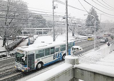 湿り雪、市内も影響