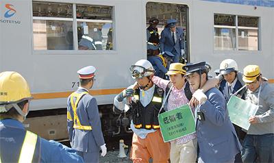 列車使用し、総合訓練