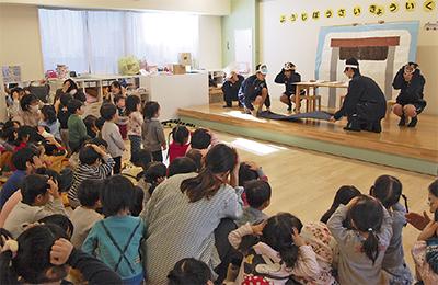 高校生が園児に防災授業