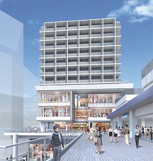 ペデストリアンデッキから見た東口ビルのイメージ