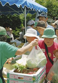 新鮮野菜を買い求める客