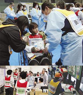 負傷者に対応する様子(上・右)海老名総合病院の様子(左)