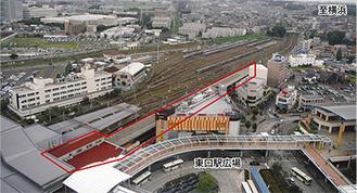上空から見た海老名駅、写真右上が横浜方面となる。赤枠で囲われた部分が相鉄駅舎で北口改札はホームの横浜寄りに設置される予定〔写真提供/海老名市〕